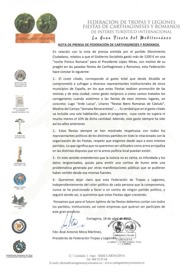 Comunicado de Presna Federación de Tropas y Legiones - Carthagineses y Romanos